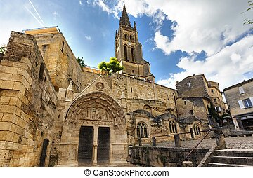 Old monolithic church in the Saint Emilion village near...