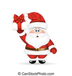 Santa Claus with Christmas gift in hand