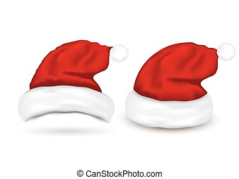Set of Santa Hats on white background