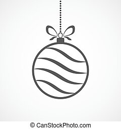 Hanging Christmas ball. Vector illustration. - Abstract...