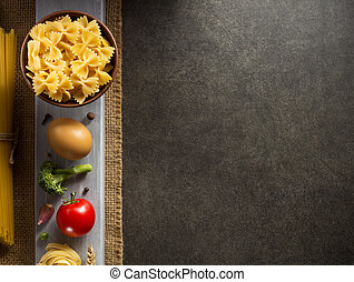 pasta and food ingredient on table - pasta and food...