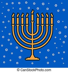jewish traditional nine candle candelabrum - Happy hanukkah...