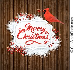 Christmas banner with cardinal bird - Christmas banner with...
