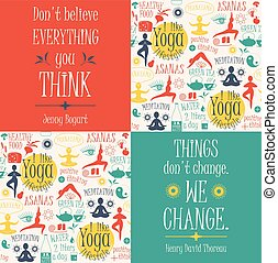 Yoga background with yogic quotes. Poster with typography....