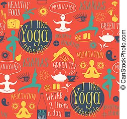Yoga lifestyle seamless pattern. Vector illustration