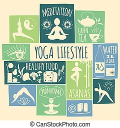 Vector illustration of yoga lifestyle. Design element.