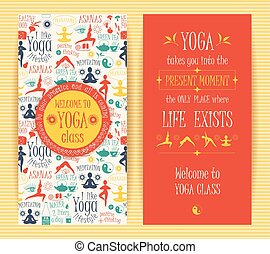 Flyers for yoga class.Vector pattern with illustration yoga...