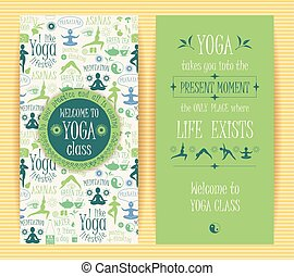Flyers with yogic quotes for yoga class.Vector pattern with...