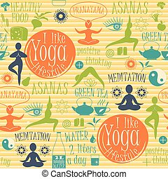Vector illustration of yoga lifestyle.Seamless pattern....