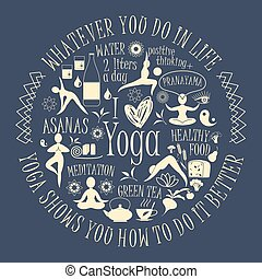 Yoga background with yogic quote. Vector pattern with...