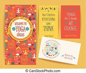 Design set for yoga class. Poster, flyer, card. Vector...