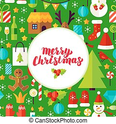 Merry Christmas Greeting Poster. Flat Style Vector...