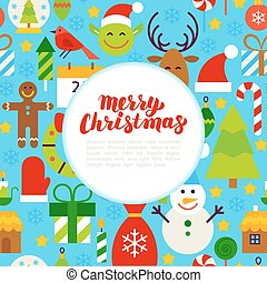 Flat Merry Christmas Greeting. Flat Style Vector...