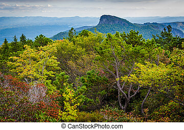 View of Table Rock from Hawksbill Mountain, on the rim of...