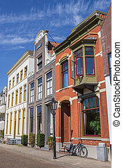 Street with old houses in the historical center of Zwolle,...
