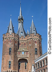 Old city gate Sassenpoort in the historical city of Zwolle,...