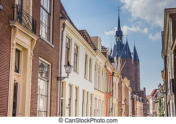 Old houses and the city gate in Zwolle, Holland