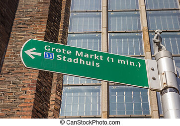 Tourist sign giving directions to the central market square in Zwolle