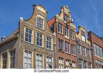 Decorated facades in the historical center of Zwolle,...