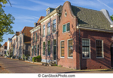 Street with historical houses in Blokzijl