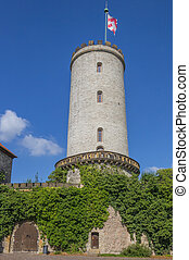 Tower of the Sparrenburg castle in Bielefeld, Germany
