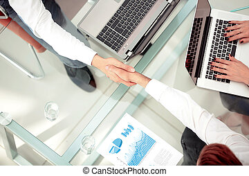 Business people shaking hands during a meeting - Close up...
