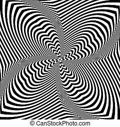 Abstract op art design. Torsion rotation movement.