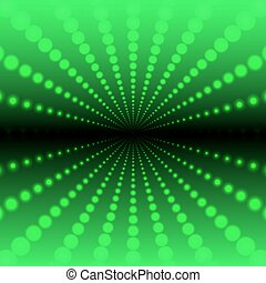 Abstract green background of luminous dots arranged in space and forming a tunnel