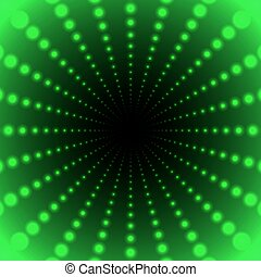 Abstract green background of luminous dots arranged in space and stretching into the distance in a tunnel