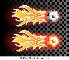Flying soccer ball with red fire flames on dark  transparent background.