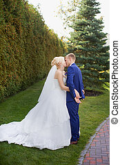 Newlyweds kissing on a green meadow on a sunny day