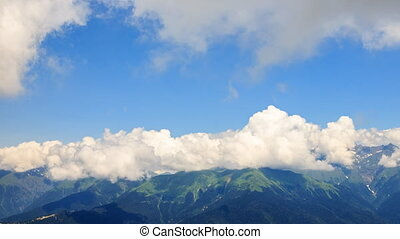 Clouds in the mountains. TimeLapse. Rosa Khutor. Sochi,...