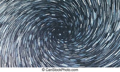 Stars leave traces. Spiral. Zoom. Night, Russia
