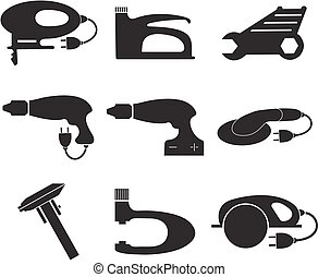 Tools mechanic icons set, black silhouette. Element logo , isolated on a white background. Vector illustration