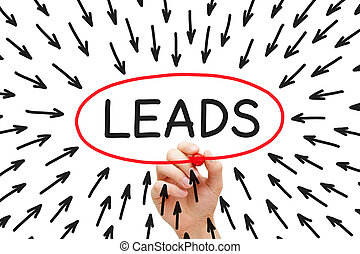 Lead Generation Arrows Concept - Hand drawing Lead...