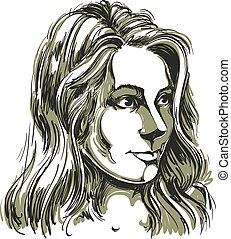 Vector portrait of attractive Caucasian woman with long wavy...