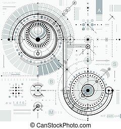 Technical plan, engineering draft. Vector drawing of industrial system with mechanical parts, for use in graphic and web design.