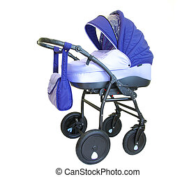 baby carriage isolated on white background