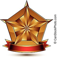 Vector glorious glossy design element, luxury 3d pentagonal...