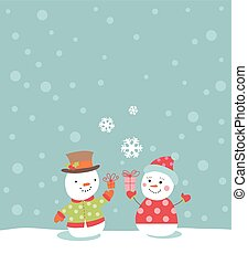 Loving couple of snowmen with gifts
