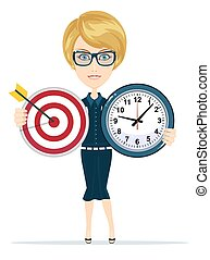 Business woman holding target and time clock. Stock vector...