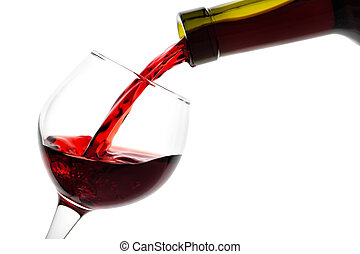 Detail of the glass is filled with red wine isolated on...