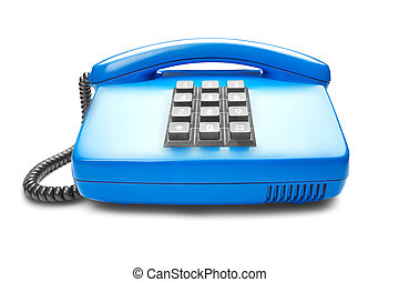 landline blue phone on isolated white background with shadow
