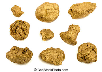 Gold nuggets, isolated on white background