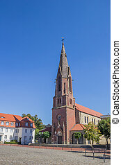 St. Marien church on the market square in Quakenbruck,...
