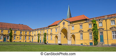 Panorama of the inner courtyard of Castle Osnabruck in...