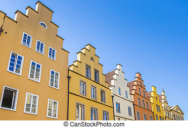 Colorful houses at the central market square in Osnabruck,...