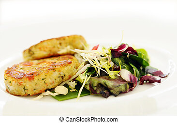The crabs cakes with vegetables - The crabs cakes with...