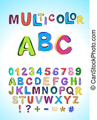 Multicolor ABC. Bright multicolored mixed letters and numbers