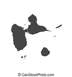 Guadeloupe map silhouette on the white background. Vector...